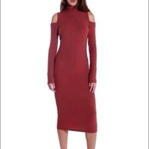 Brick Red Cold Shoulder Turtle Neck Sweater Dress
